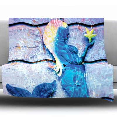 Mermaid Starlight by Anne Labrie Fleece Throw Blanket Size: 40 L x 30 W