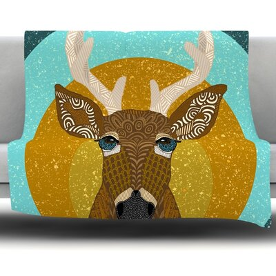 Stag in Grass by Art Love Passion Fleece Throw Blanket Size: 80 L x 80 W