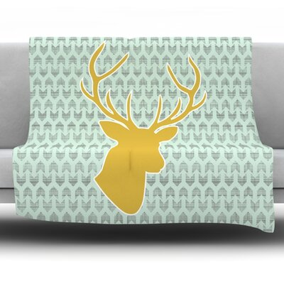 Golden Deer by Pellerina Design Fleece Throw Blanket Size: 40 x 30