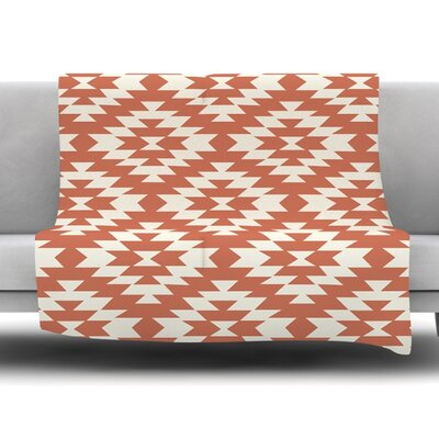 Navajo Toasted Coral by Amanda Lane Fleece Throw Blanket Size: 40 x 30