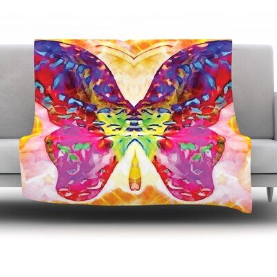 Butterfly Spirit by Anne Labrie Fleece Throw Blanket Size: 80 L x 60 W