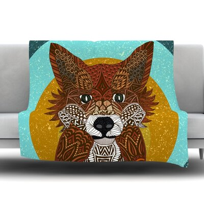 Colored Fox by Art Love Passion Fleece Throw Blanket Size: 80 L x 60 W