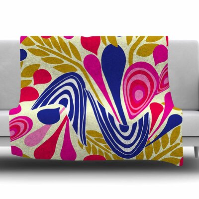 Abstract Bouquet by Amy Reber Fleece Throw Blanket Size: 80 L x 60 W