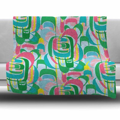 Rainbow Geometric by Amy Reber Fleece Throw Blanket Size: 80 L x 60 W
