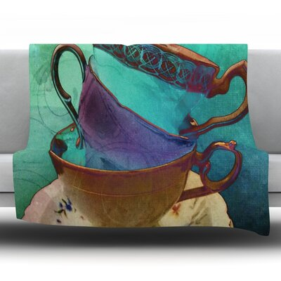 Mad Hatters T-Party I by Alyzen Moonshadow Fleece Throw Blanket Size: 60 L x 50 W