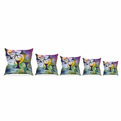 Bike To The Moon by Alyzen Moonshadow Throw Pillow Size: 18 x 18