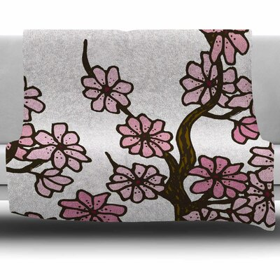 Cherry Blossoms by Art Love Passion Fleece Throw Blanket Size: 80 L x 60 W