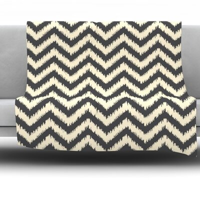 Moonrise Chevron Ikat by Amanda Lane Fleece Throw Blanket Size: 80 x 60