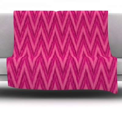 Berry Pink Chevron by Amanda Lane Fleece Throw Blanket Size: 60 x 50