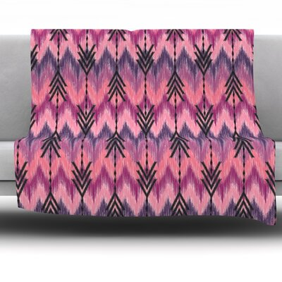 Indigo Orchid Chevron Arrows by Amanda Lane Fleece Throw Blanket Size: 40 L x 30 W