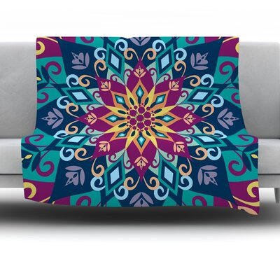 Blooming Mandala by Amanda Lane Fleece Throw Blanket Size: 60 x 50
