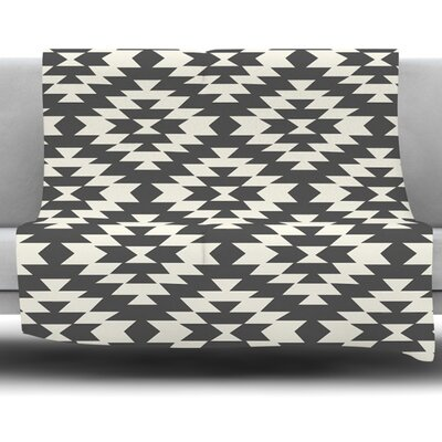 Navajo Cream by Amanda Lane Fleece Throw Blanket Size: 60 L x 50 W