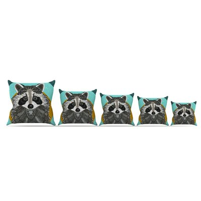 Racoon In Grass Throw Pillow Size: 18 x 18