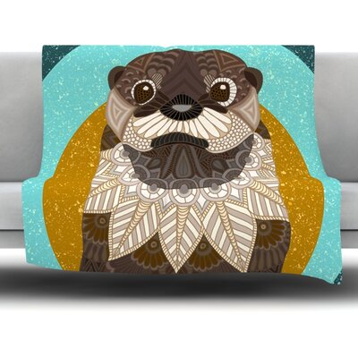 Otter in Water by Art Love Passion Fleece Throw Blanket Size: 40 L x 30 W