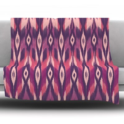 Purple Ikat by Amanda Lane Fleece Throw Blanket Size: 60 L x 50 W