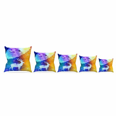 Rain Deer by Alyzen Moonshadow Throw Pillow Size: 18 x 18