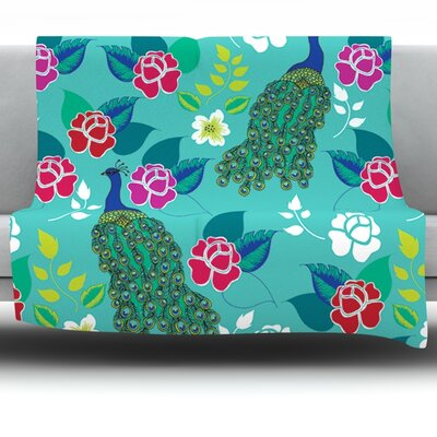 Mexican Peacock by Anneline Sophia Fleece Throw Blanket Size: 40 x 30