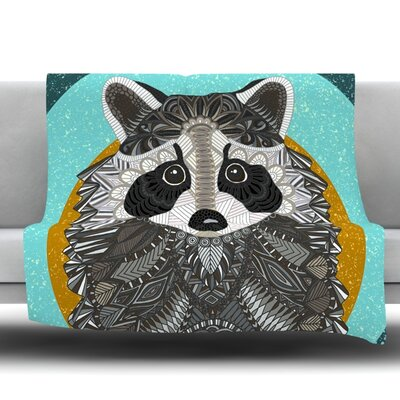 Racoon In Grass Fleece Throw Blanket Size: 80 L x 60 W