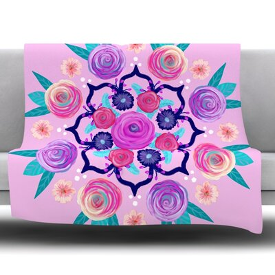 Expressive Blooms Mandala by Anneline Sophia Fleece Throw Blanket Size: 40 L x 30 W