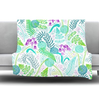Fern Forest by Anneline Sophia Fleece Throw Blanket Size: 80 L x 60 W
