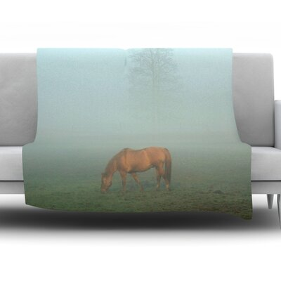 Horse in Fog Fleece Throw Blanket Size: 60 L x 50 W