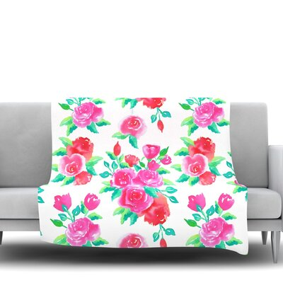 Roses by Anneline Sophia Fleece Throw Blanket Size: 80 L x 60 W