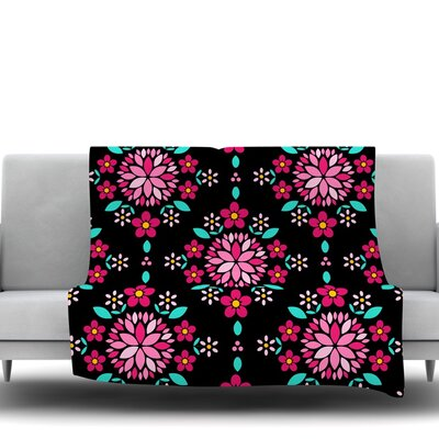 Dahlia Mandala by Anneline Sophia Fleece Throw Blanket Size: 80 L x 60 W
