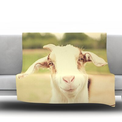Happy Goat by Angie Turner Fleece Throw Blanket Size: 40