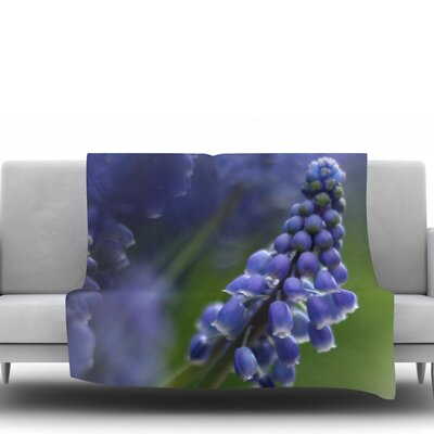 Grape Hyacinth by Angie Turner Fleece Throw Blanket Size: 40 L x 30 W