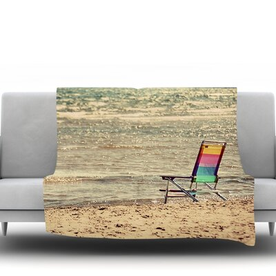 Beach Chair by Angie Turner Fleece Throw Blanket Size: 80 L x 60 W
