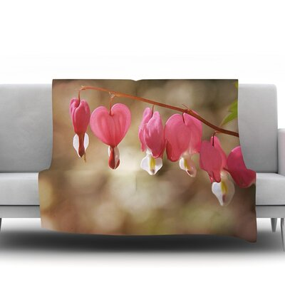 Bleeding Hearts by Angie Turner Fleece Throw Blanket Size: 60 L x 50 W