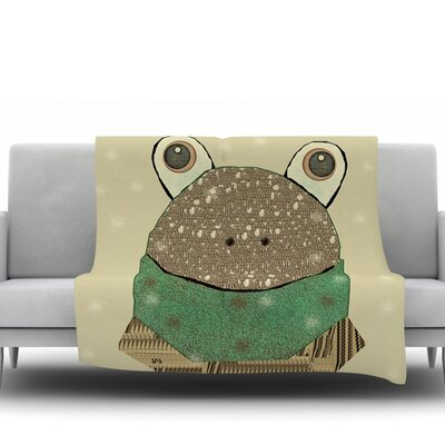 Frog by Bri Buckley Fleece Throw Blanket Size: 80 L x 60 W