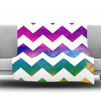 Lucky Chevron by Beth Engel Fleece Throw Blanket Size: 60 x 50