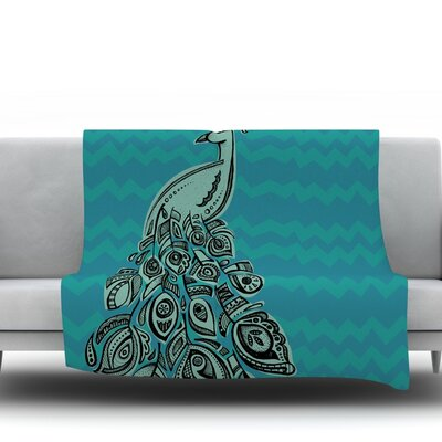 Peacock Blue Ii by Brienne Jepkema Fleece Throw Blanket Size: 80 x 60