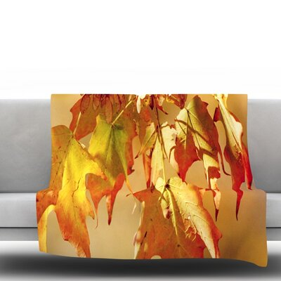 Autumn Leaves by Angie Turner Fleece Throw Blanket Size: 40 L x 30 W
