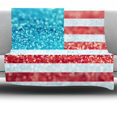 Red, White And Glitter by Beth Engel Fleece Throw Blanket Size: 60 x 50