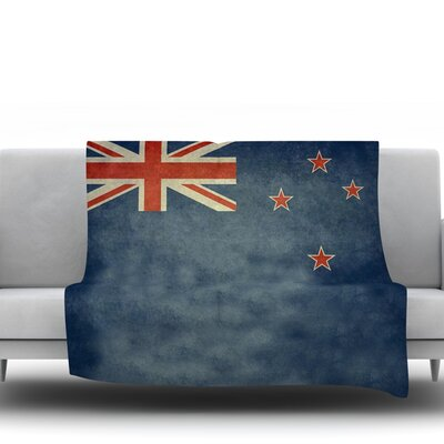 Flag Of New Zealand by Bruce Stanfield Fleece Throw Blanket Size: 80 L x 60 W