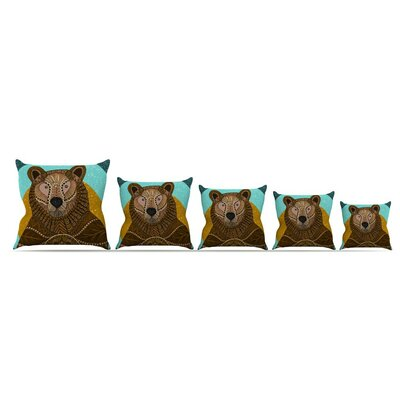 Bear In Grass Throw Pillow Size: 16 x 16