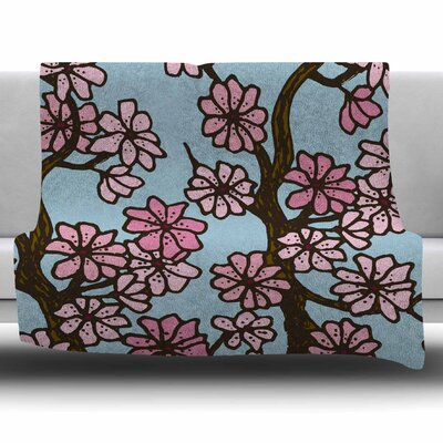 Cherry Blossom Day by Art Love Passion Fleece Throw Blanket Size: 60 L x 50 W