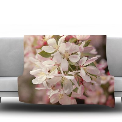 Apple Blossoms by Angie Turne Fleece Throw Blanket Size: 80 L x 60 W