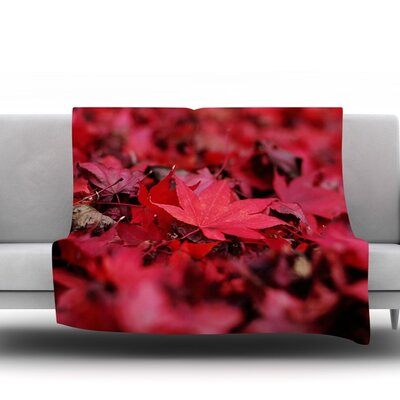 Red Leaves by Angie Turner Fleece Throw Blanket Size: 40 L x 30 W
