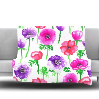 Anemones by Anneline Sophia Fleece Throw Blanket Size: 80 L x 60 W