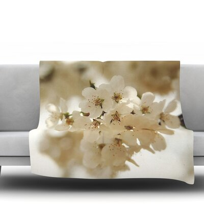 Flowering Pear by Angie Turner Fleece Throw Blanket Size: 40 L x 30 W