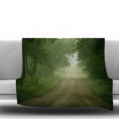 Foggy Road by Angie Turner Fleece Throw Blanket Size: 80 L x 60 W