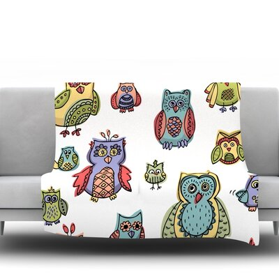 Owls by Brienne Jepkema Fleece Throw Blanket Size: 40 x 30