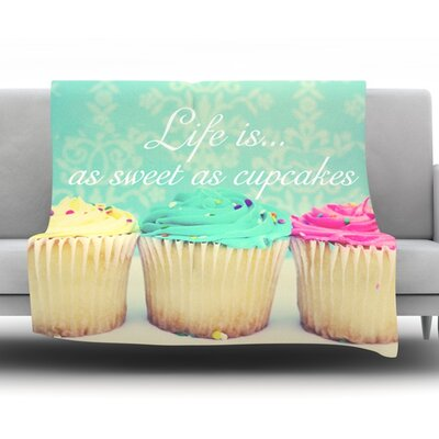 Life Is As Sweet As Cupcakes by Beth Engel Fleece Throw Blanket Size: 60 L x 50 W