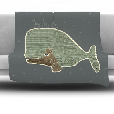Blue Whale by Bri Buckley Fleece Throw Blanket Size: 60 L x 50 W