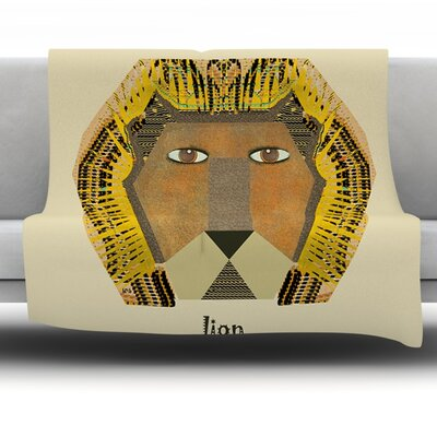 Lion by Bri Buckley Fleece Throw Blanket Size: 40 L x 30 W