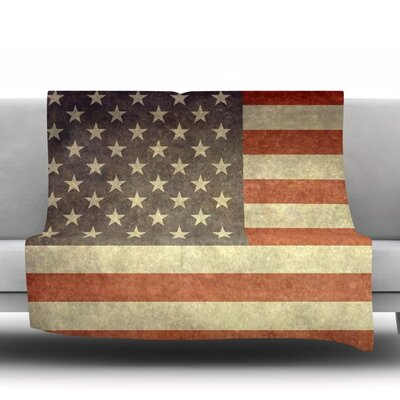 Flag Of Us Retro by Bruce Stanfield Fleece Throw Blanket Size: 60 L x 50 W