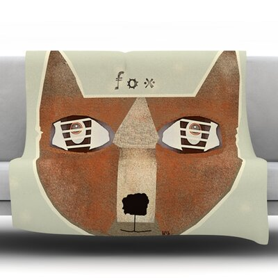 Fox Face by Bri Buckley Fleece Throw Blanket Size: 40 L x 40 W